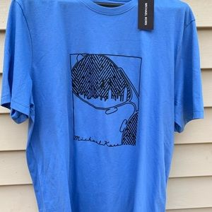 NEW MICHAEL KORS Bay Blue Graphic Tee Size Large
